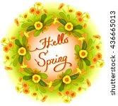 spring summer floral wreath ... | Shutterstock . vector #436665013