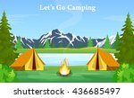 poster showing campsite with a... | Shutterstock . vector #436685497