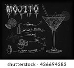 ice mojito cocktail  soda  rum  ... | Shutterstock .eps vector #436694383