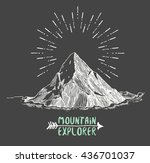 sketch of a mountain  isolated  ... | Shutterstock .eps vector #436701037
