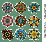 traditional tattoo flowers set... | Shutterstock .eps vector #436702483