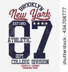 college new york typography  t... | Shutterstock .eps vector #436708777