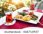 turkish tea and meze vegetarian ... | Shutterstock . vector #436713937