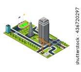 bank building in downtown.... | Shutterstock . vector #436720297