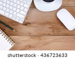 wooden table with office... | Shutterstock . vector #436723633