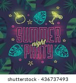 summer night party. summer... | Shutterstock .eps vector #436737493