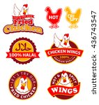 fried chicken labels | Shutterstock .eps vector #436743547