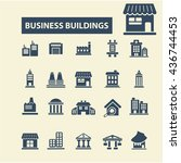 business buildings icons | Shutterstock .eps vector #436744453