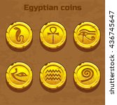 old gold egyptian coins ... | Shutterstock .eps vector #436745647
