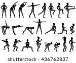 vector silhouettes of woman... | Shutterstock .eps vector #436762837