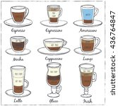 set of coffee. decorative icons ... | Shutterstock .eps vector #436764847