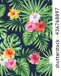 tropical seamless pattern with... | Shutterstock .eps vector #436768897