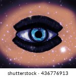 woman eye and cosmic space with ... | Shutterstock . vector #436776913