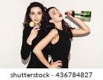 two beautiful women in black... | Shutterstock . vector #436784827