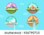 magic landscape. air island | Shutterstock .eps vector #436790713