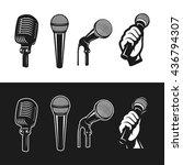 set of monochrome microphones.... | Shutterstock .eps vector #436794307