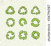 set of sketch doodle recycle... | Shutterstock .eps vector #436796587