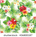 tropical seamless pattern with... | Shutterstock .eps vector #436800187