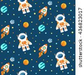 seamless cute space pattern... | Shutterstock .eps vector #436823017