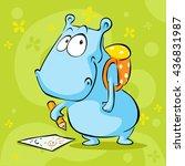 cute hippo cartoon with school... | Shutterstock .eps vector #436831987