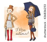 vector set beautiful fashion... | Shutterstock .eps vector #436836253