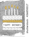 cute happy birthday card with... | Shutterstock . vector #436850017