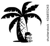 child reading under a palm tree | Shutterstock . vector #436855243