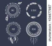 hand drawn boho style frames... | Shutterstock .eps vector #436877887