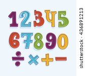 colorful funny set of numbers... | Shutterstock .eps vector #436891213