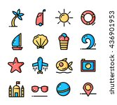 thin line summer icons set ...