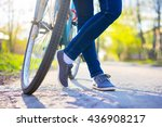 bike and female feet in the... | Shutterstock . vector #436908217