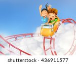 roller coaster in the clouds ... | Shutterstock .eps vector #436911577