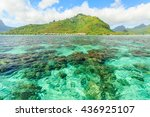 beautiful sea with mountain and ... | Shutterstock . vector #436925107