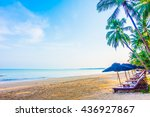 umbrella and chair on the... | Shutterstock . vector #436927867