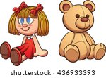 teddy bear and doll. vector... | Shutterstock .eps vector #436933393
