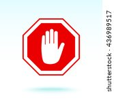no entry hand sign icon  vector ... | Shutterstock .eps vector #436989517