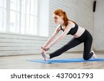 young healthy fitness woman... | Shutterstock . vector #437001793