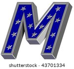 silver blue letter with stars... | Shutterstock . vector #43701334