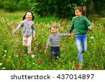 the children lead an active a... | Shutterstock . vector #437014897