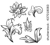 baroque damask design elements. ...   Shutterstock .eps vector #437018083