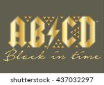 ab cd rock themed foil and stud ... | Shutterstock .eps vector #437032297