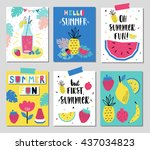 vector set of fun summer cards.  | Shutterstock .eps vector #437034823