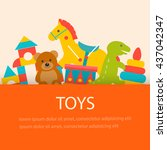background with children toys ... | Shutterstock .eps vector #437042347
