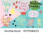 summer hand drawn calligraphyc... | Shutterstock .eps vector #437048623