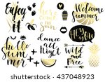 summer hand drawn calligraphyc... | Shutterstock .eps vector #437048923