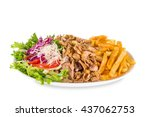 kebab sandwich on white plate... | Shutterstock . vector #437062753