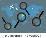 magnifier zoom for airplane on... | Shutterstock .eps vector #437065027