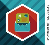 mail air ticket flat icon with... | Shutterstock .eps vector #437065153