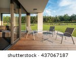 stylish patio with wood... | Shutterstock . vector #437067187