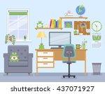 workspace for freelancer in... | Shutterstock .eps vector #437071927